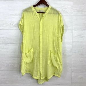 Saturday Sunday Anthro Neon Yellow Tunic Blouse